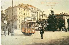 TEL Tramwagen am Piazza Giardino um 1910