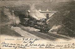 Tunnelportal in Airolo, gelaufen 10. 7. 1905
