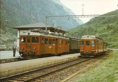 ABDe 4/4 5 + Miet-Tw De 4/4 1678 + ABDe 4/4 8 Bovernier am 26. 5. 1979