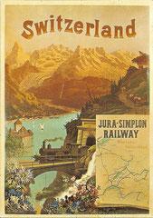 Plakat der Jura - Simplon - Bahn, 1890 von F. Conrad
