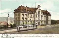 Tram beim Schulhaus, gelaufen 14. 5. 1905