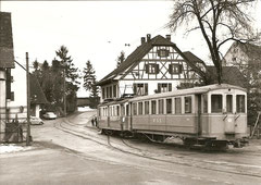 BDe 4/4 6 + B 61 in Schleitheim am 10. 3. 1963