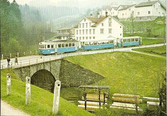 BDe 4/4 8 + B 18 + B2 83 auf der alten Säglibachbrücke am 28. 4. 1974