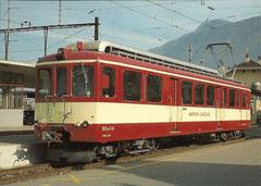 Zahnradtriebwagen BDeh 4/4 5 in Matigny am 13. 11. 1984