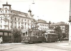 Be 2/2 11 + B2 56 am 3. 8. 1957  (Bahnhofstr./Schützengasse)