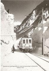 BCFe 2/2 1, Fahrt durch den Lawinenkegel im Meissenboden, Febr. 1935