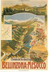 Plakat für die Bellizona - Mesocco-Bahn, um 1900