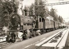 Ec 3/5 2 mit Personenwagen 107 + 106 + 104 + 52 + 101, Kreuzlingen, 24. 2. 1963