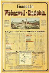 Plakat für Eisenbahn Wädenswil-Einsiedeln, 1885