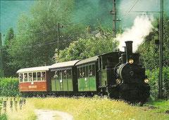 """G 3/4 1 """"Rhätia"""" + B 2060 + A 1102 + B 21 in Castione am 30. 8. 1997"""