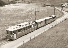 BDe 4/4 7 + B2 13 ... 15 bei Meissenboden am 31. 5. 1969