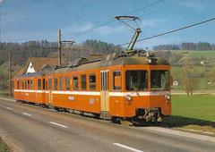 Pendelzug mit Triebwagen Be 4/4 22 am 4. 4. 1985 in Gränichen
