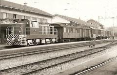 Post- + Güterzug 35b mit Em 4/4 151 + Z 952 + 3 G in Villmergen am 2. 9. 1969