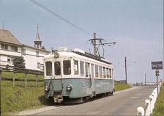 BFe 4/4 6-8 um 1958 bei der Ortsausfahrt in Bendlehn/Speicher