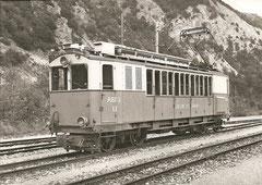 ABFeh 2/4 12 mit Stangenantrieb + Seitengangabteilen in Leuk am 7. 6. 1965