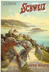 Plakat der Jura - Simplon - Bahn, 1895 von F. Hugo d'Alési