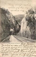 Les Gorges de Moutier, gestempelt 8. 8. 1901