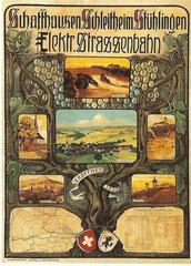 Plakat für die Eletr. Strassenbahn von Carl Roesch, 1906
