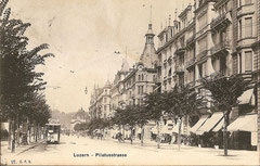 Tram in der Pilatusstrasse, gestempelt 3. 7. 1911