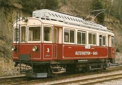 Eletrischer Zahnradtriebwagen CF 3/3 3 in Herisau 25. 4. 1982