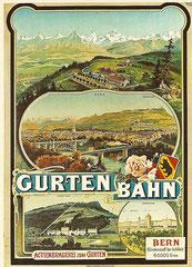 Plakat von A. Reckziegel für die Gurtenbahn, 1895