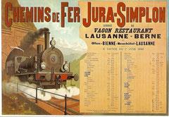 Plakat der Jura - Simplon - Bahn, 1898 von F. Conrad