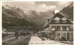 Frutigen Bahnhof, Karte gelaufen 17. 6. 1931