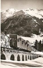 Davos Parsennbahn mit Seehorn und Pischahorn, gelaufen am 10. 11. 1955