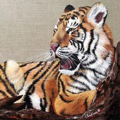 TIGRE (d'après photo de Monika Köhler - SOS Félins - Parc des Félins 77) - Acrylique