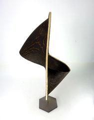 Zwei Ellipsen / 2021 / 45 x 40 x 83 cm / Eschenholz geflammt / Position 2 von 3