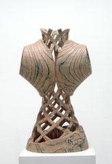 Figur II / 2014 / 35 x 24 x 61 cm / Lärche geflammt, Ölfarbe