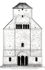 Ehemalige romanische Westfront der Andreaskirche