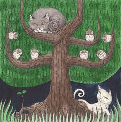 フクロウと白猫