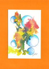 Splash & bubbles - encre & aquarelle sur papier (18x24cm - vendu)  ©B.Dupuis