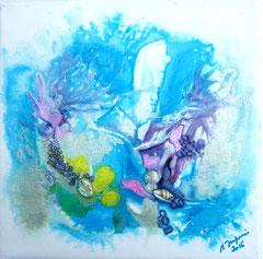Dragon et Sirène (encre sur toile 20x20 cm - 40€) - © B. Dupuis
