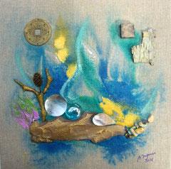 Le radeau (encre sur toile 20x20 cm - vendu) - © B. Dupuis