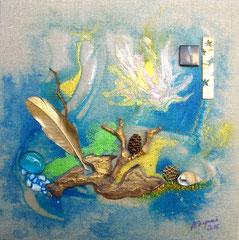 La brindille (encre sur toile 20x20 cm - vendu) - © B. Dupuis
