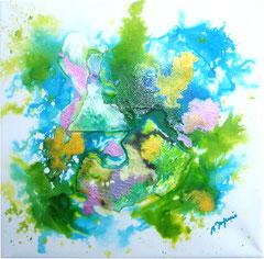 Les petits papiers (encre sur toile 20x20 cm - 40€) - © B. Dupuis