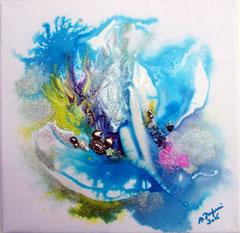 Aqua Blue (encre sur toile 20x20 cm - 40€) - © B. Dupuis