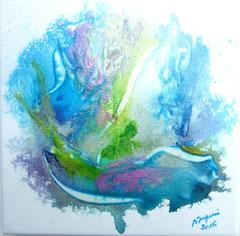 La licorne des mers, le faune et la sirène  (encre sur toile 20x20 cm - 40€) - © B. Dupuis