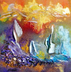 sailing boat (encre sur toile 20x20 cm - 40€) - © B. Dupuis