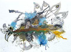 Zentangle fantaisie - encre sur papier (vendu) ©B.Dupuis