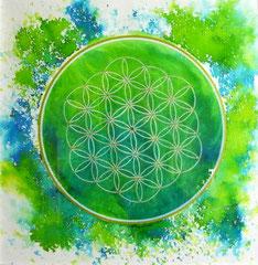 mandala Fleur de vie - encre et aquarelle sur papier (30x30 cm encadré - 60€) ©B.Dupuis
