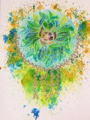 mandala - encre & aquarelle sur papier (30x40 cm - collection privée) ©B.Dupuis