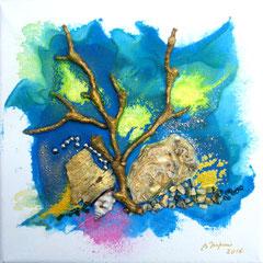 La branche d'or Raie manta (encre sur toile 20x20 cm - 40€) - © B. Dupuis