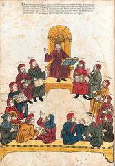 Herbarium III Avicenna im Kreis disputierender Ärzte; Verona 15.Jh.