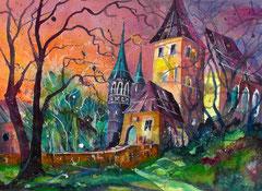 Schloss Worb    Aquarell gemalt auf Fabriano satinata 640g  56 x 76