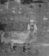 Poney blanc. Xe ou XIe siècle (?). Jadis attribué à Han Kan, peintre de l'époque T'ang. Probablement d'époque plus basse, du début des Song peut-être. La plus grande partie du fond est détruite.