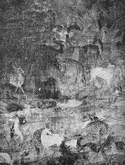 Les cent cerfs (détail). Par Wen Tcheng-ming (1470-1567). Peinture polychrome. Partie d'un très grand ensemble assez endommagé par endroits, qui est non seulement signé, mais encore daté de l'année correspondant à 1549 après J.-C.