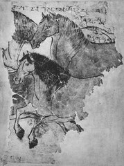 Chevaux. VIIIe siècle. Fragment d'une peinture sommaire mais vigoureuse représentant des chevaux en mouvement ; tons bruns et rougeâtres. Découvert à Mazar Tagh en 1915 par Sir Aurel Stein. Débuts de l'époque T'ang.